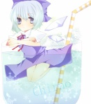 1girl blue_hair cirno cup dress drinking_straw hair_ribbon in_container in_cup minigirl nayuta_(scarlet-noize) ribbon snowflakes solo touhou wings