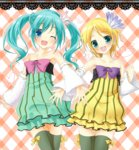2girls amane_(amnk1213) aqua_eyes aqua_hair bare_shoulders blonde_hair blue_eyes blush bow cheerful_candy_(module) collarbone colorful_drop_(module) colorful_x_melody_(vocaloid) detached_sleeves dress flat_chest flower frilled_dress frills hair_flower hair_ornament hatsune_miku heart kagamine_rin multiple_girls one_eye_closed open_mouth outstretched_hand plaid plaid_background project_diva_(series) project_diva_2nd ribbon short_hair smile strapless strapless_dress striped striped_dress thighhighs vocaloid zettai_ryouiki