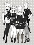4girls ankle_boots artist_name belt boots braid camellia character_request choker commentary_request dots dress elbow_gloves flower gauntlets gloves grey_background greyscale grin hair_over_eyes hair_over_one_eye halterneck high_heels javelin_(siirakannu) kantai_collection knee_boots legs leotard long_hair looking_at_viewer margaret_(siirakannu) mashell_(siirakannu) messy_hair monochrome multiple_girls necktie orange_eyes original pantyhose sash shinkaisei-kan shirt sidelocks siirakannu smile spot_color tail thigh_strap thighs vione_(siirakannu) white_hair white_skin younger