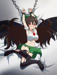 1girl arms_up bed_sheet black_legwear black_wings blush bow breasts brown_hair cato_(monocatienus) chain commentary cuffs glaring green_bow green_skirt hair_between_eyes hair_bow hair_spread_out large_breasts long_hair looking_at_viewer lying navel no_shoes on_back red_eyes reiuji_utsuho restrained scowl shirt skirt solo thighhighs torn_clothes torn_shirt torn_skirt torn_thighhighs touhou v-shaped_eyebrows very_long_hair white_shirt wings zettai_ryouiki