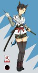 1girl animal_ears black_hair black_legwear blue_background boots camouflage camouflage_shorts commentary_request cross-laced_footwear dog_ears full_body highres holding holding_sword holding_weapon katana lace-up_boots necktie one_eye_closed original red_eyes sheath shinsengumi shirt short_hair shorts smile solo strike_witches_1991 sword thighhighs tom-neko_(zamudo_akiyuki) uniform unsheathed weapon world_witches_series