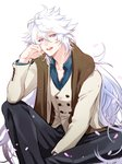 1boy :d black_pants brown_scarf fate/grand_order fate_(series) jacket long_hair looking_at_viewer male_focus merlin_(fate) open_mouth pants purple_eyes scarf sitting smile solo very_long_hair white_background zuwai_kani