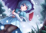 1girl blue_eyes blue_hair blush capelet commentary_request dress_shirt eyebrows_visible_through_hair fur_trim heterochromia high-waist_skirt karakasa_obake long_sleeves lzh pantyhose pleated_skirt red_eyes shirt skirt snowing solo tatara_kogasa thighband_pantyhose touhou umbrella upskirt wavy_mouth white_shirt winter