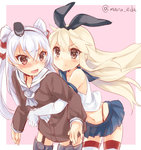 2girls amatsukaze_(kantai_collection) bare_shoulders black_bow blonde_hair blue_skirt blush bow brown_eyes choker hair_bow hair_tubes hairband hug hug_from_behind kantai_collection long_hair long_sleeves maruki_(punchiki) midriff miniskirt multiple_girls neckerchief pleated_skirt sailor_collar sailor_dress shimakaze_(kantai_collection) silver_hair skirt striped striped_legwear thighhighs two_side_up