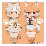 2girls :< :d animal_ear_fluff animal_ears bow bowtie brown_eyes capriccyo cat_(kemono_friends) cat_ears cat_tail chibi closed_eyes collar commentary_request dog_(kemono_friends) dog_ears extra_ears fur-trimmed_shorts green_eyes grey_hair kemono_friends leash looking_at_viewer multicolored_hair multiple_girls open_mouth orange_background orange_hair paw_print short_hair shorts simple_background smile tail thighhighs twitter_username two-tone_hair white_hair