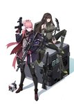 2girls ar-15 arm_up armor armored_boots assault_rifle bangs belt belt_buckle black_gloves black_legwear black_shorts blue_eyes boots box breasts brown_eyes brown_hair buckle character_request closed_mouth collar defy_(girls_frontline) detached_sleeves dress girls_frontline gloves green_hair gun hair_between_eyes hair_ornament headphones highres holding holding_gun holding_weapon jacket knee_pads long_hair long_sleeves looking_at_viewer m4_carbine m4a1_(girls_frontline) multicolored_hair multiple_girls pink_hair ponytail red_gloves rifle scope shadow shoelaces shorts sidelocks simple_background sitting st_ar-15_(girls_frontline) standing strap streaked_hair suppressor thighhighs trigger_discipline weapon white_background zwc1271750321