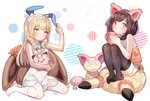2girls alternate_hairstyle animal_ears arm_up bare_shoulders black_legwear blonde_hair blush braid breasts brown_eyes brown_hair cat_ears cleavage clefairy collarbone cup cushion doll dress eevee eyebrows_visible_through_hair fake_animal_ears flower full_body gen_1_pokemon gen_3_pokemon gen_7_pokemon green_eyes hair_flower hair_ornament hairband hand_up hands_up highres holding kneehighs knees_up legs_together lillie_(pokemon) long_hair looking_at_viewer looking_to_the_side mimikyu mizuki_(pokemon) mug multiple_girls orange_shirt pink_hairband pokemon pokemon_(creature) pokemon_(game) pokemon_usum red_flower see-through shiny shiny_hair shirt short_hair short_shorts shorts simple_background sitting skitty sleeveless sleeveless_dress sleeveless_shirt small_breasts thighhighs tied_hair twin_braids wariza white_background white_dress white_flower white_hairband white_legwear white_shorts zuizi