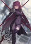 absurdres bare_tree bodysuit breasts cloud cloudy_sky covered_navel dual_wielding fate/grand_order fate_(series) gae_bolg hair_intakes highres holding holding_weapon large_breasts leotard long_hair looking_to_the_side nekobell outdoors pauldrons polearm purple_bodysuit purple_hair purple_leotard red_eyes scathach_(fate)_(all) scathach_(fate/grand_order) shoulder_armor sky spear tree volcano weapon