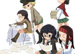 5girls :q arm_support bangs black_eyes black_footwear black_hair black_jacket black_legwear black_neckwear blonde_hair blouse blush_stickers boots braid brown_eyes brown_footwear brown_hair brown_jacket caesar_(girls_und_panzer) chair chi-hatan_military_uniform desk erwin_(girls_und_panzer) eyebrows_visible_through_hair fukuda_(girls_und_panzer) gesture girls_und_panzer glasses green_headwear green_skirt hamahara_yoshio hand_on_own_chin haori hat head_out_of_frame headband holding holding_paper holding_pen jacket jacket_on_shoulders japanese_clothes knee_boots leaning_forward loafers long_hair long_sleeves looking_at_another medium_hair messy_hair military military_hat military_jacket military_uniform miniskirt motion_lines multiple_girls muneate neckerchief one_eye_closed ooarai_school_uniform oryou_(girls_und_panzer) paper peaked_cap pen pleated_skirt pointy_hair red-framed_eyewear red_headband red_scarf round_eyewear saemonza scarf school_chair school_desk school_uniform semi-rimless_eyewear serafuku shoes short_hair short_ponytail sitting skirt socks standing sweatdrop tongue tongue_out under-rim_eyewear uniform walking white_bag white_blouse writing yellow_skirt