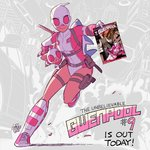 1girl breasts cover cover_page english full_body gurihiru gwen_poole gwenpool katana leotard marvel mask md5_mismatch pig pouch shin_guards shoes small_breasts smile sneakers solo stuffed_animal stuffed_shark stuffed_toy superhero sword weapon