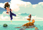 1boy animal black_hair blue_sky blurry boots cloud dragon_ball dragon_ball_z flying food fruit hat highres horizon male muscle net ocean skin_tight sky solo spiked_hair straw_hat supobi swimming turtle umigame_(dragon_ball) vegeta water watermelon