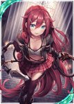1girl akkijin blue_eyes boots breasts card_(medium) chain cleavage frilled_skirt frills holding holding_weapon indoors key lock long_hair looking_at_viewer miniskirt official_art red_hair shinkai_no_valkyrie skirt small_breasts sunlight thighhighs very_long_hair weapon whip window