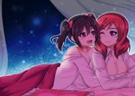 2girls bangs bare_shoulders bed_sheet black_hair blush collarbone commentary eyebrows_visible_through_hair long_hair looking_at_another love_live! love_live!_school_idol_project lovejuice_(elmokun_moe) lying multiple_girls nishikino_maki on_bed on_stomach one_eye_closed open_clothes open_mouth open_shirt purple_eyes red_hair short_hair twintails yazawa_nico yuri