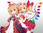 2girls :o ;d ascot black_skirt blonde_hair blush bow clothes_in_front commentary_request cowboy_shot crystal double-breasted dress fang flandre_scarlet frilled_shirt_collar frilled_sleeves frills gradient gradient_background grey_background hat hat_bow holding_clothes kawachi_rin long_sleeves mob_cap multiple_girls one_eye_closed one_side_up open_mouth pink_eyes plaid plaid_dress pointy_ears puffy_short_sleeves puffy_sleeves red_bow red_eyes red_skirt rumia shirt short_hair short_sleeves skin_fang skirt skirt_set smile touhou vest white_shirt wings wrist_cuffs