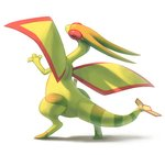 claws commentary commission creature english_commentary flygon full_body gen_3_pokemon green_wings looking_at_viewer looking_back no_humans pokemon pokemon_(creature) red_eyes serious simple_background solo standing twarda8 white_background wings
