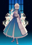 1girl absurdres ahoge armor armored_boots armored_dress artoria_pendragon_(all) bangs blonde_hair blue_dress blue_eyes blurry blurry_background boots closed_mouth dress eyebrows_visible_through_hair fate/stay_night fate_(series) faulds flower full_body gauntlets highres long_dress long_sleeves looking_at_viewer parted_lips ro96cu saber short_hair solo standing white_flower