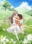 2girls :d absurdres bare_arms bare_shoulders blue_eyes blue_sky blush brown_footwear brown_hair child cloud cura daisy day dress emi_(monobeno) enty_reward eye_contact eyebrows_visible_through_hair field flower forest grass hair_ornament highres hug japanese_clothes kimono long_hair long_sleeves looking_at_another monobeno multicolored_hair multiple_girls nature no_socks obi one_eye_closed open_mouth outdoors paid_reward petals red_eyes red_hair red_kimono sandals sash sawai_natsuha shoes short_hair sky sleeveless sleeveless_dress smile standing standing_on_one_leg sundress sunlight tree two-tone_hair two_side_up white_dress white_legwear yukata