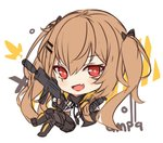 1girl :d bangs big_head black_bow black_footwear black_jacket black_legwear black_ribbon black_skirt blush boots bow brown_hair character_name commentary english_commentary eyebrows_visible_through_hair fang girls_frontline gun h&k_ump9 hair_between_eyes hair_bow hair_ornament hairclip hitsukuya holding holding_gun holding_weapon jacket knee_boots long_hair long_sleeves looking_at_viewer neck_ribbon object_namesake open_mouth pantyhose pleated_skirt red_eyes ribbon scar scar_across_eye shirt sketch skirt smile solo twintails ump9_(girls_frontline) very_long_hair weapon white_background white_shirt