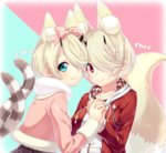 2girls absurdres animal_ears blonde_hair blue_eyes blush bow breasts cat_ears cat_tail character_name character_request english fox_ears fox_tail hair_bow hair_over_one_eye highres holding_hands hood hoodie horns jacket large_breasts long_sleeves looking_at_viewer multiple_girls phantasy_star phantasy_star_online_2 pink_bow pink_jacket red_eyes sakura_chiyo_(konachi000) short_hair smile tail text