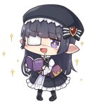 +_+ 1girl :d bangs belt belt_pouch beret black_hair black_legwear blunt_bangs blush book bow brooch commentary dress drooling ear_blush eyebrows_visible_through_hair eyepatch frilled_dress frills full_body granblue_fantasy hair_bow harvin hat holding holding_book jewelry long_hair long_sleeves lunalu_(granblue_fantasy) medical_eyepatch nogisaka_kushio nose_blush open_book open_mouth pigeon-toed pointy_ears pouch purple_eyes reading smile solo sparkle transparent_background wavy_mouth wide_sleeves