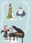 4girls bat_wings beamed_quavers bow braid chi-kun_(seedyoulater) crescent crotchet dress grey_hair hair_bow hat head_wings highres hong_meiling instrument izayoi_sakuya koakuma long_hair maid_headdress multiple_girls musical_note open_mouth pants patchouli_knowledge piano pointy_ears puffy_short_sleeves puffy_sleeves purple_eyes purple_hair quaver red_eyes red_hair shoe_ribbon shoes short_hair short_sleeves single_braid smile socks touhou twin_braids wings