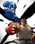 2boys arm_cannon battle belt black_hair capcom commentary_request company_connection crossover dougi fighting_stance fingerless_gloves gloves green_eyes headband helmet highres jumping karate_gi multiple_boys open_mouth rockman rockman_(character) rockman_(classic) ryuu_(street_fighter) sleeveless street_fighter tonami_kanji weapon
