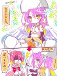 2girls 2koma :d age_regression angel_wings black_gloves blush bow bowtie breasts bridal_gauntlets closed_mouth comic commentary_request crop_top cross detached_collar dress feathered_wings flower gloves gradient_hair hair_flower hair_ornament halo happy jibril_(no_game_no_life) large_breasts long_hair low_wings magic_circle midriff minazoi_kuina mismatched_legwear multicolored_hair multiple_girls navel no_game_no_life open_mouth pink_hair red_hair sitting smile speech_bubble stephanie_dora symbol-shaped_pupils tattoo translation_request twitter_username very_long_hair white_wings wing_ears wings yellow_eyes younger
