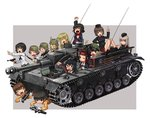 6+girls ankle_boots anzio_military_uniform bangs black_footwear black_hair black_hat black_jacket black_legwear black_neckwear blonde_hair blouse blue_eyes bolt_action boots bow bowtie brown_eyes brown_hair caesar_(girls_und_panzer) carpaccio chin_rest closed_eyes coke-bottle_glasses commentary_request dress_shirt emblem erwin_(girls_und_panzer) eyepatch freckles garrison_cap girls_und_panzer goggles goggles_on_headwear green_hat grey_background grey_hair ground_vehicle gun handgun hat helmet holding itsumi_erika jacket katahira_masashi kawashima_momo kuromorimine_military_uniform long_hair long_sleeves lying machine_gun mauser_98 messy_hair military military_hat military_uniform military_vehicle miniskirt momogaa monocle motor_vehicle mp40 multiple_girls nakajima_(girls_und_panzer) neckerchief nekonyaa ninja nishizumi_maho on_stomach one_eye_closed ooarai_(emblem) ooarai_military_uniform ooarai_school_uniform open_mouth oryou_(girls_und_panzer) outside_border peaked_cap pistol piyotan pleated_skirt pointing pointing_up raised_fist red_headband red_shirt red_skirt rifle saemonza saunders_school_uniform shirt short_hair silver_hair sitting skirt smile socks standing sturmgeschutz_iii submachine_gun tank thighhighs translation_request tsuchiya_(girls_und_panzer) turretless_tank uniform v walther walther_p38 weapon weapon_request white_blouse x-ray