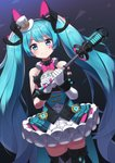 1girl aqua_eyes aqua_hair arm_strap bangs bare_shoulders black_bow black_legwear blush bow bowtie center_frills closed_mouth commentary cowboy_shot dark_background dress dutch_angle eyebrows_visible_through_hair facial_mark frilled_dress frills gloves hair_bow hat hatsune_miku highres holding holding_microphone layered_dress long_hair looking_at_viewer microphone mini_hat mini_top_hat mk82_(hoonsyh) pink_bow pink_neckwear ribbon_trim sleeveless sleeveless_dress smile solo thighhighs top_hat triangle twintails very_long_hair vocaloid white_gloves white_headwear wrist_cuffs zettai_ryouiki