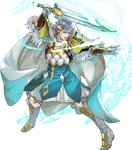 1boy aqua_eyes arm_guards armor bangs blue_hair boots cape feather_trim fighting_stance fire_emblem fire_emblem_heroes full_body gauntlets gloves highres holding holding_sword holding_weapon hrid_(fire_emblem_heroes) knee_boots long_sleeves looking_away maeshima_shigeki male_focus multicolored_hair non-web_source official_art open_mouth pants puffy_sleeves shoulder_armor silver_hair solo sparkle striped sword transparent_background weapon