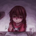 1girl aosora_(mizore) boxcutter braid brown_hair desk desk_lamp drawing drugs glass madotsuki medicine notebook pencil red_eyes signature smile solo twin_braids twintails yume_nikki