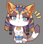 animal animalization blue_eyes blush_stickers cat cat_focus chibi commentary fate_(series) full_body grey_background jewelry looking_at_viewer no_humans ozymandias_(fate) simple_background tsubasa_tsubasa