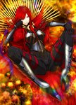 1girl black_gloves bow breastplate cape fate/grand_order fate_(series) gauntlets gloves greaves grin hair_over_one_eye high_heels long_hair looking_at_viewer oda_nobunaga_(fate) oda_nobunaga_(maou_avenger)_(fate) red_eyes red_hair sami_(object_dump) sitting smile solo spread_legs very_long_hair