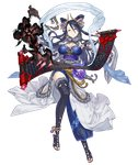 1girl anklet asymmetrical_clothes bare_shoulders black_hair breasts detached_sleeves earrings full_body fur_collar fur_trim grey_eyes hagoromo hair_ornament jewelry ji_no kaguya_hime_(sinoalice) large_breasts looking_at_viewer nail_polish official_art scroll serious shawl side_slit sinoalice skull smoke solo thighhighs transparent_background wide_sleeves