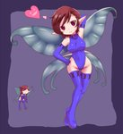 2girls =3 arm_up bare_shoulders blue_gloves blue_legwear blue_leotard breasts brown_hair closed_mouth covered_navel covered_nipples elbow_gloves eyebrows eyebrows_visible_through_hair fairy fairy_wings full_body gloves hand_on_hip heart highleg highleg_leotard jack_frost leotard medium_breasts multiple_girls nollety pixie_(megami_tensei) pointy_ears purple_background red_eyes shin_megami_tensei short_hair smile taut_clothes taut_leotard thighhighs turtleneck wings