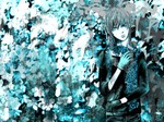 1boy black_eyes blue_hair flower gloves heterochromia highres kaito male_focus monochrome scarf solo vocaloid yokan