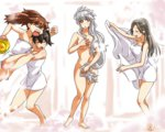 4girls birth_of_venus breast_envy bucket chitose_(kantai_collection) covering fine_art_parody hair_censor hair_down kaga_(kantai_collection) kantai_collection kobamiso_(kobalt) long_hair multiple_girls parody ryuujou_(kantai_collection) towel unryuu_(kantai_collection)