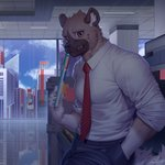 1boy aggressive_retsuko artist_name black_pants blue_sky book brown_eyes building ceiling cloud day furry haida hand_in_pocket holding holding_book hyena looking_at_viewer male_focus necktie office pants raccoon21 reflection scenery shirt sky skyscraper smile solo standing white_shirt window
