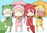 4girls :< :d ^_^ ^o^ alternate_costume animal_costume bangs blonde_hair blush boots bow bowtie closed_eyes coat commentary_request dual_persona engiyoshi flower frog_costume green_coat hair_between_eyes holding holding_umbrella i-168_(kantai_collection) i-58_(kantai_collection) kantai_collection long_sleeves multiple_girls open_mouth pink_coat pink_hair raincoat red_coat red_eyes red_hair ro-500_(kantai_collection) smile tan u-511_(kantai_collection) umbrella v-shaped_eyebrows water_drop white_hair yellow_coat