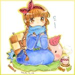 1girl blanket blue_robe blue_scarf border braid brown_hair candy character_pillow covered_mouth cup drink food gipple graphite_(medium) hairband kukuri looking_at_viewer mahoujin_guruguru mug pillow pink_hairband popurieru scarf sitting solo staff steam traditional_media twin_braids watercolor_pencil_(medium) wrapped_candy yellow_border