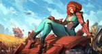 1girl absurdres bodysuit braid breasts cleavage covered_nipples cutesexyrobutts darla_(em8er) em8er field green_eyes high_heels highres huge_filesize large_breasts light_smile mecha navel paid_reward patreon_reward red_hair sitting solo source_request thighs wheat