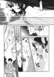 1girl 2boys animal_ears bunny_ears comic facial_hair greyscale haori highres inaba_tewi japanese_clothes kayako_(tdxxxk) kimono long_sleeves monochrome multiple_boys obi page_number sash short_hair touhou translation_request
