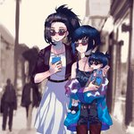 3girls belt black_belt black_hair black_tank_top blue_hair blue_jacket boku_no_hero_academia cellphone child commentary_request day dress family grey_belt heart heart-shaped_eyewear highres holding holding_phone if_they_mated ips_cells jacket jewelry jirou_kyouka looking_at_phone mother_and_daughter multiple_girls necklace outdoors pantyhose phone red_legwear road smartphone street sunglasses tank_top white_dress yaoyorozu_momo yuko_ec yuri