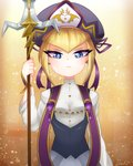 1girl beret blonde_hair blue_eyes commentary_request glaring hat heart highres kirby:_star_allies kirby_(series) littlecloudie looking_at_viewer personification polearm signature spear weapon yellow_background zan_partizanne