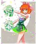 1girl :d ahoge bare_arms bare_shoulders blush bow cheerleader confetti cropped_legs curly_hair dress eyebrows_visible_through_hair freckles green_dress green_eyes hair_bow holding iesupa looking_at_viewer open_mouth orange_hair outdoors penny_polendina pink_bow pom_poms rwby shiny shiny_hair short_hair smile solo standing tareme thighs two-tone_background