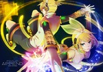 1boy 1girl arm_warmers blonde_hair blue_eyes brother_and_sister detached_sleeves hair_ornament hair_ribbon hairclip headphones highres kagamine_len kagamine_len_(append) kagamine_rin kagamine_rin_(append) mashibaya ribbon short_hair shorts siblings twins vocaloid vocaloid_append