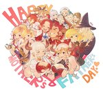 4boys 6+girls ;d ^_^ agielba ahoge aletheia_(granblue_fantasy) alicia_(granblue_fantasy) aliza_(granblue_fantasy) animal_print ardora beard blonde_hair blue_hair bow breasts camieux child clarisse_(granblue_fantasy) cleavage closed_eyes cow_horns cucouroux_(granblue_fantasy) draph facial_hair family father's_day father_and_daughter fur_trim gift granblue_fantasy hair_bow harold_(granblue_fantasy) hat heart highres horns hug jewelry leopard_print long_hair minaba_hideo mohawk mother's_day mother_and_daughter multiple_boys multiple_girls mustache nene_(granblue_fantasy) official_art one_eye_closed open_mouth percival_(granblue_fantasy) pointy_ears ponytail promethea_(granblue_fantasy) purple_eyes sailor_hat silva's_father silva's_mother silva_(granblue_fantasy) single_earring smile teena_(granblue_fantasy) underboob vest wizard wizard_hat yae_(granblue_fantasy)