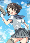 black_hair headband kantai_collection looking_back sakiyamama school_uniform short_hair tagme tanikaze_(kantai_collection)
