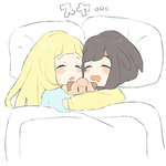 2girls bangs black_hair blanket blonde_hair blush_stickers braid character_doll chibi clefairy closed_eyes drooling from_above gen_1_pokemon lillie_(pokemon) long_hair long_sleeves lying mizuki_(pokemon) mouth_drool multiple_girls on_side pajamas pillow pokemon pokemon_(game) pokemon_sm short_hair sleeping translated twin_braids unapoppo under_covers