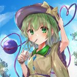 1girl black_headwear blouse blue_sky blush breasts bubble_tea cloud commentary_request cup day disposable_cup drinking_straw eyebrows_visible_through_hair frilled_shirt_collar frilled_sleeves frills green_eyes green_hair hair_between_eyes hand_on_headwear hat hat_ribbon heart heart_of_string highres ikazuchi_akira komeiji_koishi lens_flare light_particles long_sleeves looking_at_viewer outdoors ribbon short_hair sky small_breasts solo third_eye touhou tree upper_body wide_sleeves yellow_blouse